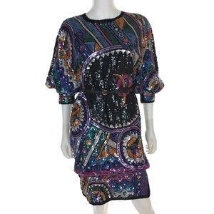 Vintage Dresses - Vintage 80s Silk Sequin Cocktail Dress 💫